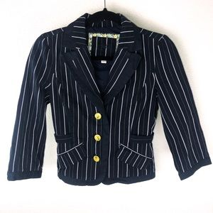 Roxy | Striped Blazer Size Small Blue White Yellow